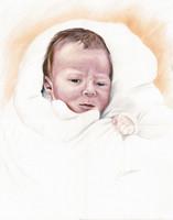 Baby Kunstbild, Buntstift Baby Portrait, Kinderportrait Witzdam